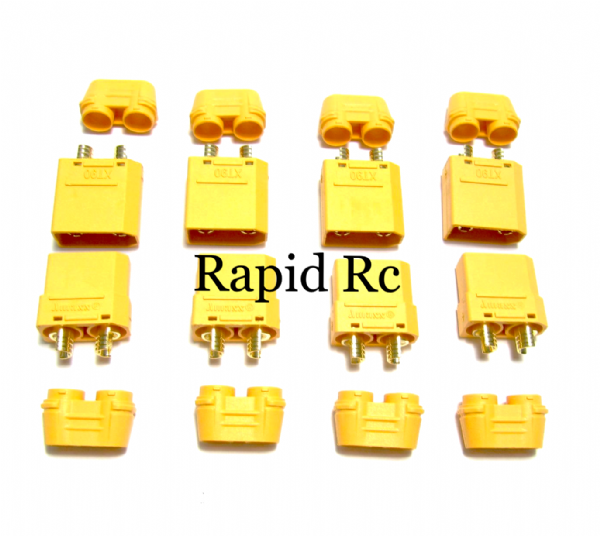 Nylon XT90 Connectors Male / Female With End Cap ( 4 Sets) Yellow